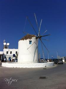 The wind mill at the port in Parikia