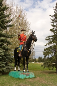 Mountie statue in North Battlefords, Sask