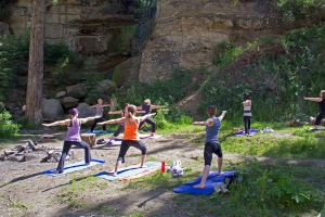 People practicing yoga for the Summer Solstice in Hard Luck Canyon